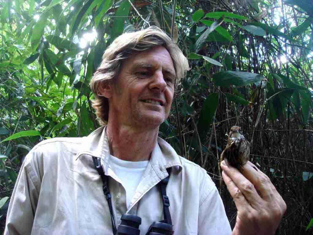 Richard Craik with White-throated Wren-babbler, Vietnam's rarest endemic passerine