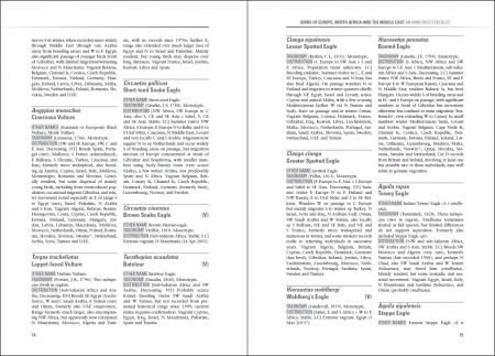 Birds of Europe, North Africa and the Middle East sample page